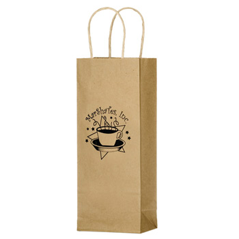"Natural Kraft Paper 1-Bottle Wine Tote Bag (5 1/2""x3 1/4""x12 1/2"") - Flexo Ink"