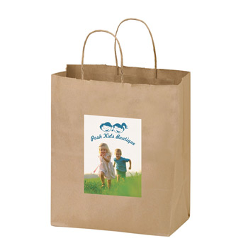 "Natural Kraft Paper Shopper Tote Bag w/Full Color (8""x4 3/4""x10 1/4"") - Color Evolution"