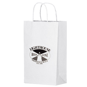 "White Kraft Paper Shopper Tote Bag (10""x5""x13"") - Flexo Ink"