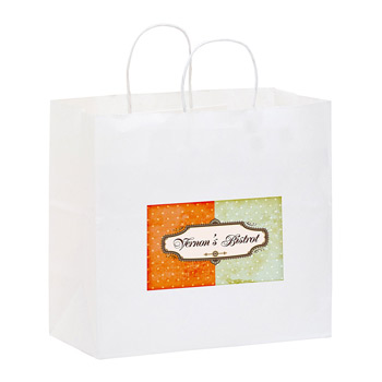 "White Kraft Paper Carry-Out Shopper with Full Color (13""x7""x12 3/4"") - Color Evolution"