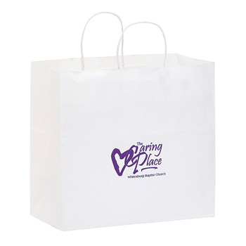"White Kraft Paper Carry-Out Bag (13""x7""x12 3/4"") - Flexo Ink"