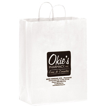 "White Kraft Paper Shopper Tote Bag (13""x7""x17"") - Flexo Ink"