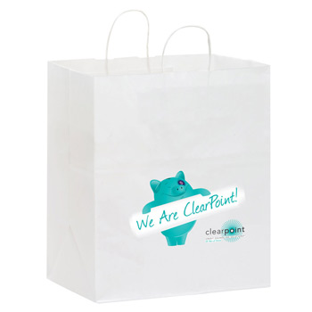 "White Kraft Paper Carry-Out Shopper w/Full Color (14.5""x9.5""x16.25"") - Color Evolution"