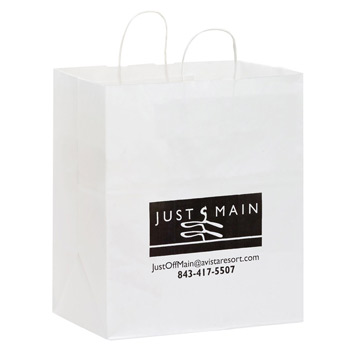 "White Kraft Paper Carry-Out Bag (14 1/2""x9 1/2""x16 1/4"") - Flexo Ink"