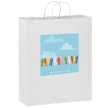 "White Kraft Paper Shopper Tote Bag w/Full Color (16""x6""x19"") - Color Evolution"