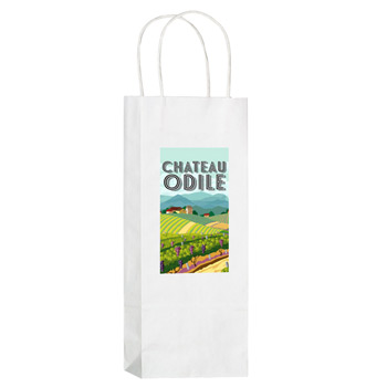 "White Kraft Paper 1-Bottle Wine Tote Bag w/Full Color (5.5""x3.25""x12.5"") - Color Evolution"