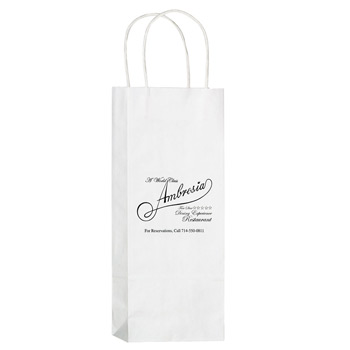 "White Kraft Paper 1-Bottle Wine Tote Bag (5 1/2""x3 1/4""x12 1/2"") - Flexo Ink"
