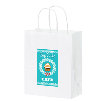 "White Kraft Paper Shopper Tote Bag w/Full Color (8""x4 3/4""x10 1/4"") - Color Evolution"