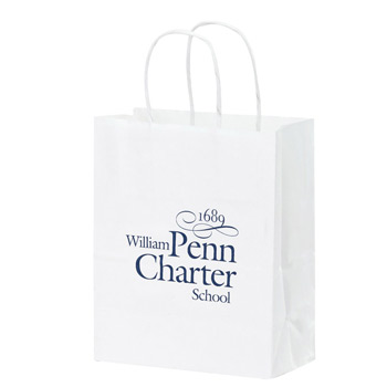"White Kraft Paper Shopper Tote Bag (8""x4 3/4""x10 1/4"") - Flexo Ink"