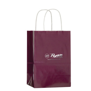 "Color Gloss Paper Shopper Tote Bag (5""x3 1/2""x8"") - Foil Stamp"