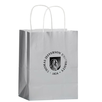 "Color Gloss Paper Shopper Tote Bag (8""x4 3/4""x10 1/2"") - Foil Stamp"