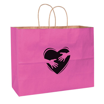 "Breast Cancer Awareness Pink Matte Color Paper Shopper Bag (16""x6""x13"") - Foil Stamp"