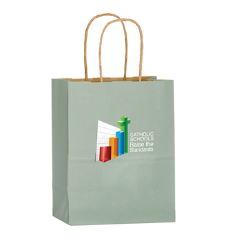 "Matte Color Paper Shopper Tote Bag w/Full Color (8""x4 3/4""x10 1/2"") - Color Evolution"