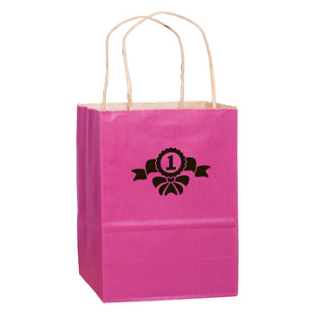 "Breast Cancer Awareness Pink Matte Color Paper Shopper Bag (8""x4.75""x10.5"") - Foil Stamp"