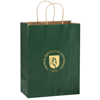 "Matte Color Paper Shopper Tote Bag (8""x4 3/4""x10 1/2"") - Foil Stamp"