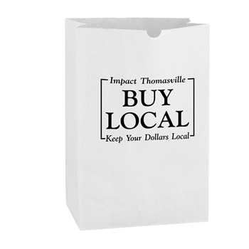White Kraft Paper SOS Grocery Bag (Size 1/6 Bbl.) - Flexo Ink