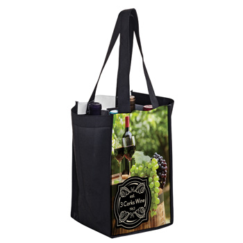 Full Coverage PET Non-Woven Sublimated 4 Bottle Wine Tote Bag – Sublimation