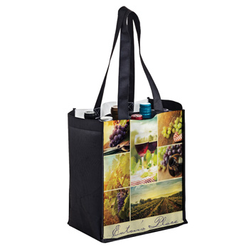 Full Coverage PET Non-Woven Sublimated 6 Bottle Wine Tote Bag – Sublimation