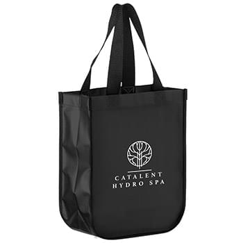 Matte Laminated Tote with Curved Corners & Black Side Gussets (9 1/2