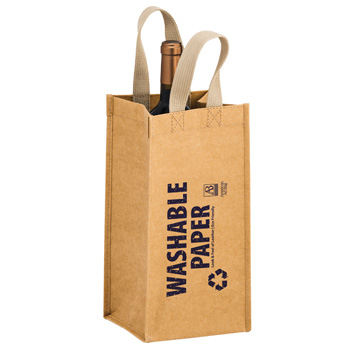 "TORNADO - Washable Kraft Paper 1 Bottle Wine Tote Bag w/ Web Handle (6""x6""x12.5"") - SP"