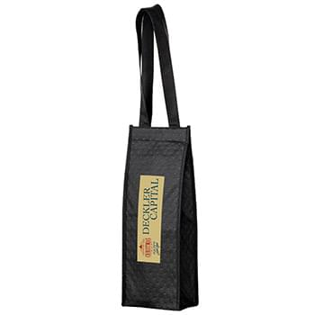 "Insulated Wine Tote Bag - 1 Bottle Non-Woven Tote with Full Color (5 1/4""x3 1/2""x14"") - Color Evolution"