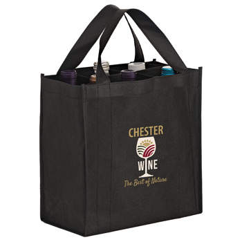 6 Bottle Non-Woven Wine Tote Bag with removable divider