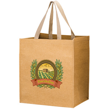 "TYPHOON - Washable Kraft Paper Grocery Tote Bag w/ Web Handle (13""x10""x15"") - EV"