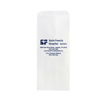 "White Kraft Paper Prescription Bag (5""x2""x12"") - Flexo Ink"