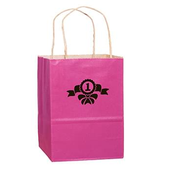 "Breast Cancer Awareness Pink Matte Color Paper Shopper Bag (10""x5""x13"") - Foil Stamp"
