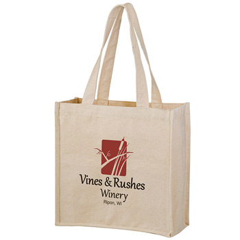 "Heavyweight Cotton Wine & Grocery Tote Bag - 2 Bottle holders (13""x5""x13"") - Screen Print"