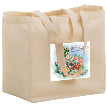 "Cotton Canvas Grocery Tote Bag w/Full Color (12""x8""x13"") - Color Evolution"