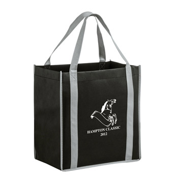 "Two-Tone Heavy Duty Non-Woven Grocery Tote Bag w/Insert (12""x8""x13"") - Screen Print"