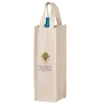 "Heavyweight Cotton Canvas 1 Bottle Wine Tote w/Full Color (4 1/2""x4 1/2""x14"") - Color Evolution"