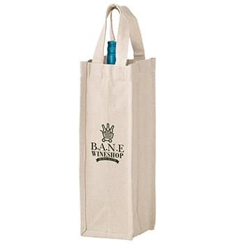 "Heavyweight Cotton Canvas 1 Bottle Wine Tote w/Full Color (4 1/2""x4 1/2""x14"") - Screen Print"