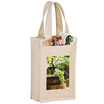 "Heavyweight Cotton Canvas 2 Bottle Wine Tote w/Full Color (7""x3""x11"") - Color Evolution"