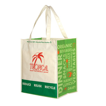 "Laminated 100% Recycled P.E.T. Grocery Tote Bag (12""x8""x13"") - Screen Print"