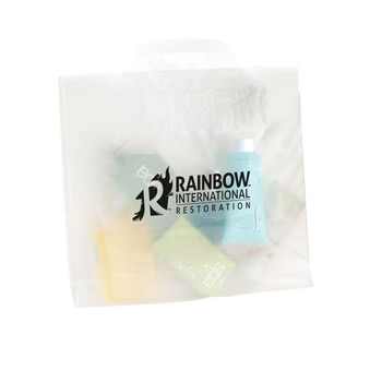 "Clear Frosted Soft Bridge Handle Plastic Bag (14""x10""x4"") - Flexo Ink"