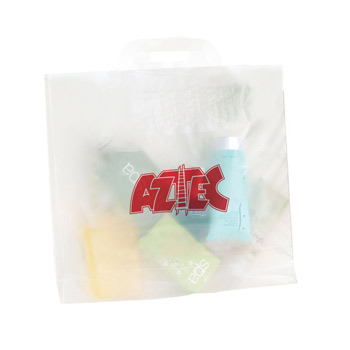 "Clear Frosted Soft Bridge Handle Plastic Bag (16""x12""x6"") - Flexo Ink"