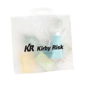 "Clear Frosted Soft Bridge Handle Plastic Bag (18""x18""x6"") - Flexo Ink"
