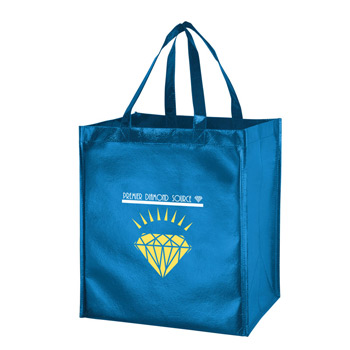 "Metallic Gloss Designer Grocery Tote Bag w/Smooth Finish & Insert (13""x10""x15"") - Screen Print"
