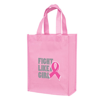 "Breast Cancer Awareness Pink Gloss Laminated Designer Tote Bag (8""x4""x10"")- Screen Print"