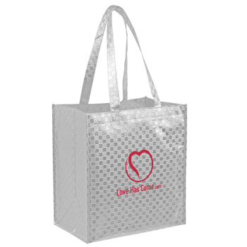 "Metallic Gloss Designer Grocery Tote Bag w/Patterned Finish & Insert (12""x8""x13"") - Screen Print"