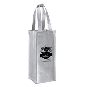 "Metallic Laminated Wine Tote Bag - 1 Bottle Non-Woven Tote (5""x5""x12"") - Screen Print"