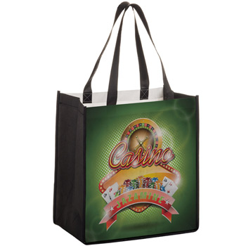 "Full Coverage PET Non-Woven Grocery Bag w/Full Color (12""x8""x13"") - Sublimated"