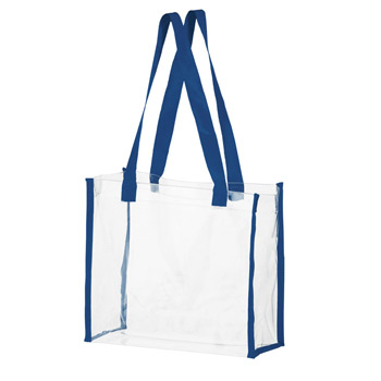 "Crystal Clear Vinyl Stadium Security Tote Bag w/Web Trim (12""x6""x12"") - Screen Print"