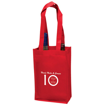 "Wine Tote Bag - 2 Bottle Non-Woven Tote Bag (7""x3""x11"") - Screen Print"