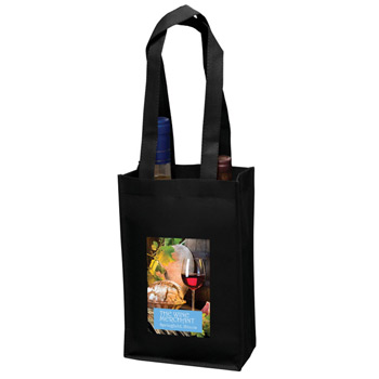 "Wine Tote Bag - 2 Bottle Non-Woven Tote w/Full Color (7""x3""x11"") - Color Evolution"