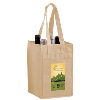 "Wine Tote Bag - 4 Bottle Non-Woven Tote w/Full Color (7""x7""x11"") - Color Evolution"