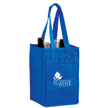 "Wine Tote Bag - 4 Bottle Non-Woven Tote (7""x7""x11"") - Screen Print"