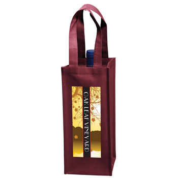 "Wine Tote Bag - 1 Bottle Non-Woven Tote w/Full Color (5""x5""x12"") - Color Evolution"